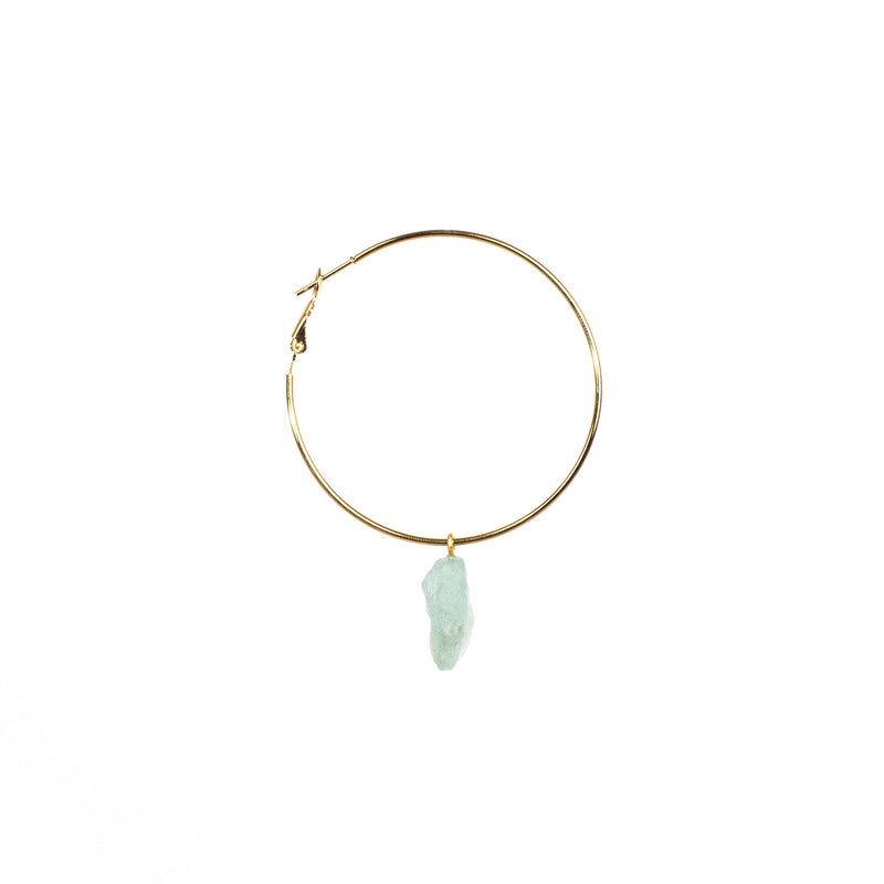Stone of Balance Ear Hoops - Aquamarine - Silver / Gold Plated