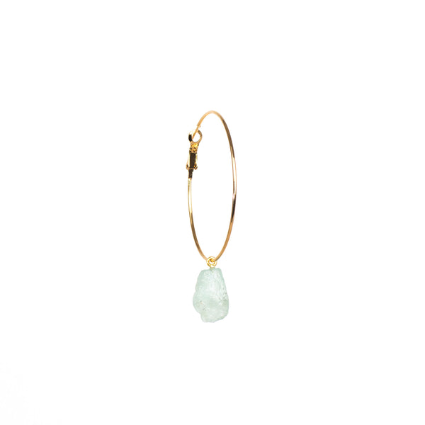 Stone of Balance Ear Hoops Set - Aquamarine - Silver / Gold Plated