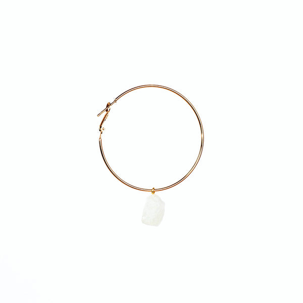 Stone of Intuition Ear Hoops - Moonstone - Silver / Gold Plated