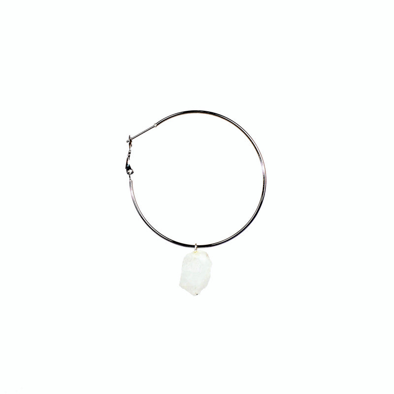 Stone of Intuition Ear Hoops Set - Moonstone - Silver / Gold Plated