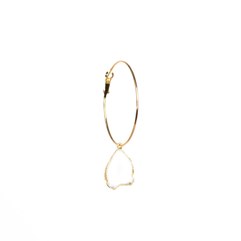 Stone of Spirituality Ear Hoops Set - Druzy Quartz - Silver / Gold Plated