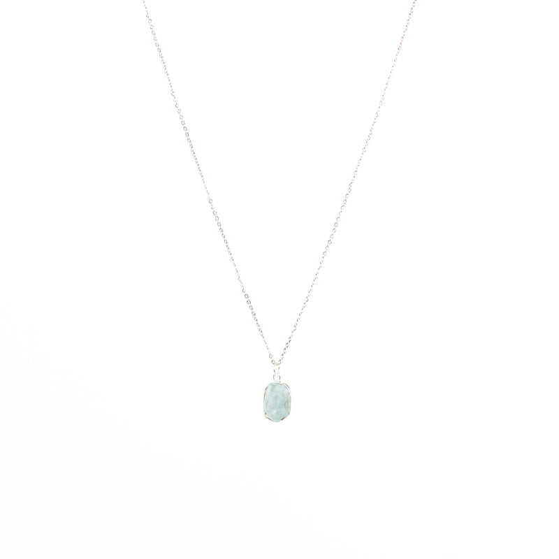 Stone of Balance Necklace - Aquamarine (Silver)