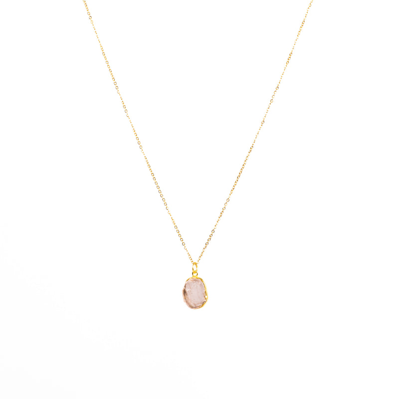 Stone of Love Necklace - Rose Quartz (Gold Plated)