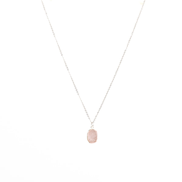 Stone of Love Necklace - Rose Quartz (Silver)