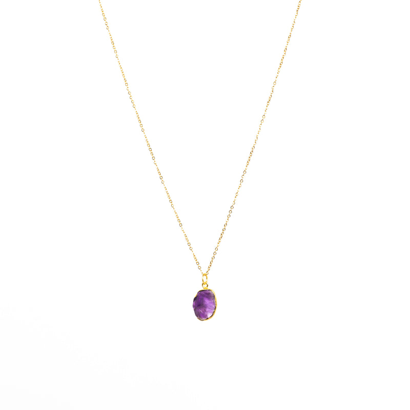 Stone of Protection Necklace - Amethyst (Gold Plated)