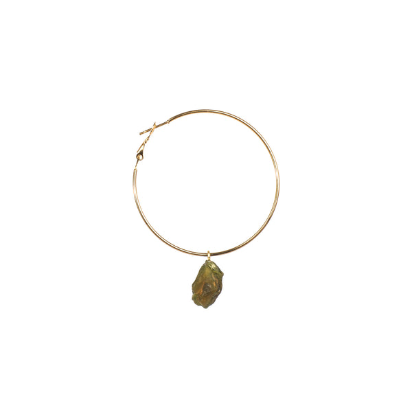 Stone of Light Ear Hoops Set - Peridot - Silver / Gold Plated