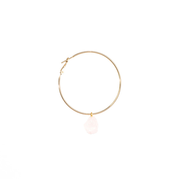Stone of Love Ear Hoops Set - Rose Quartz - Silver / Gold Plated