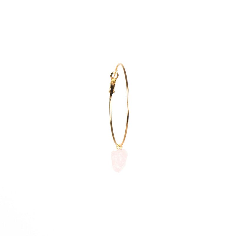Stone of Love Ear Hoops - Rose Quartz - Silver / Gold Plated