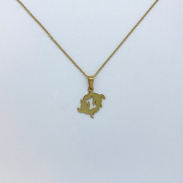Zodiac Sign Necklace (Silver or Gold Plated) - Pisces - Wolff Jewellery