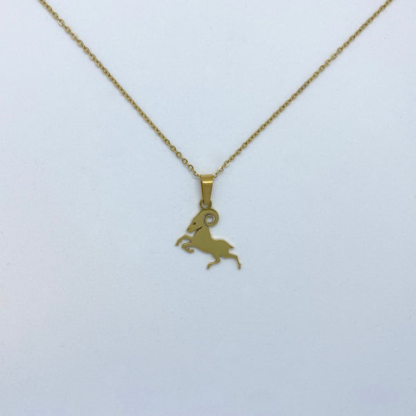 Zodiac Sign Necklace (Silver or Gold Plated) - Aries - Wolff Jewellery