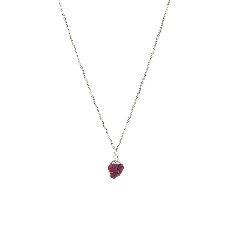 Stone of Passion Necklace - Ruby - Small - (Gold Plated or Silver)