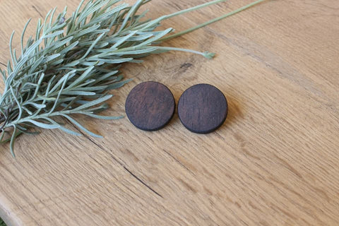 Round Wood Stud Earrings