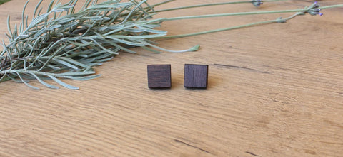 Small Square Wood Stud Earrings