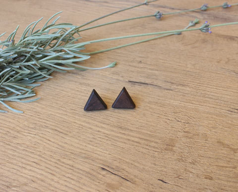 Triangle Wood Stud Earrings