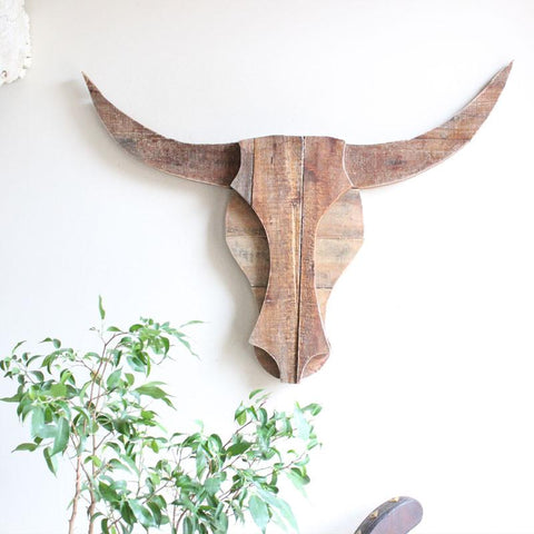 Timber Bull Head Wall Decor