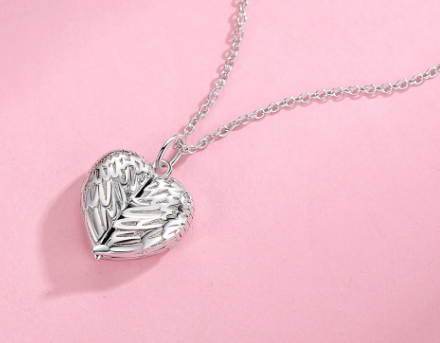 Personalised Angel Wing Heart Locket 925 Sterling Silver Necklace