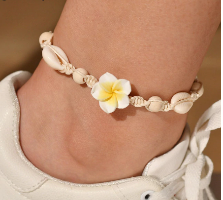 Hawaiian Cowrie Shell and Woven Rope Ankle Bracelet (2 Colours)