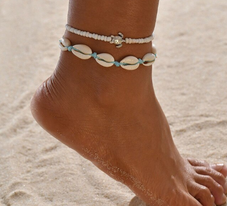 Hawaiian 2 Part Cowrie Shell and Bead Ankle Bracelet