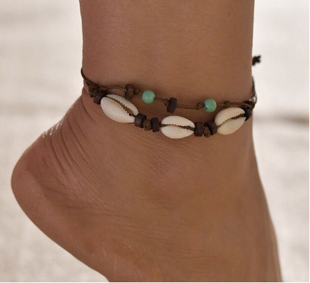 Hawaiian Cowrie Shell and Turquoise Bead Ankle Bracelet