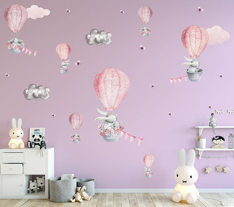 Blossom Bunnies Reusable Couture Wall Decals