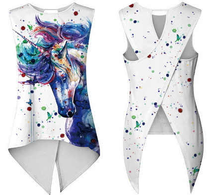Asymmetrical Unicorn Long Slim Bandage Vest