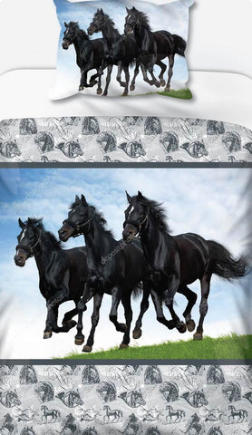 Black Horse Trio Duvet Set