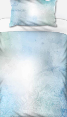 Blue Green Waves Watercolour Duvet Set