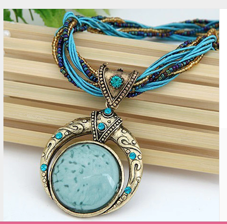 Bohemian Retro Blue Multilayer Crystal Grain and Stone Necklace