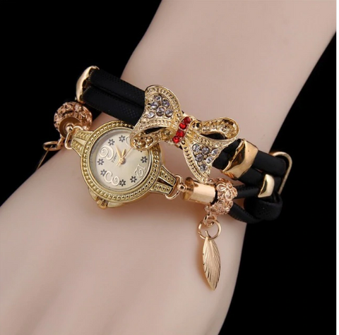 Casual Retro Multi Band and Rhinestone Charm Watch Black