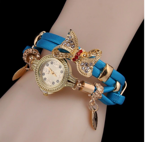 Casual Retro Multi Band and Rhinestone Charm Watch Blue