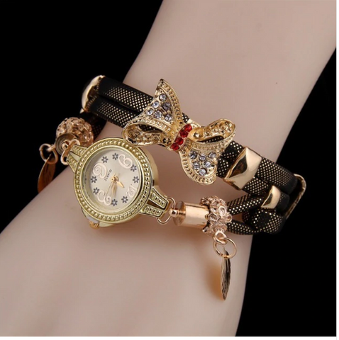 Casual Retro Multi Band and Rhinestone Charm Watch Grey