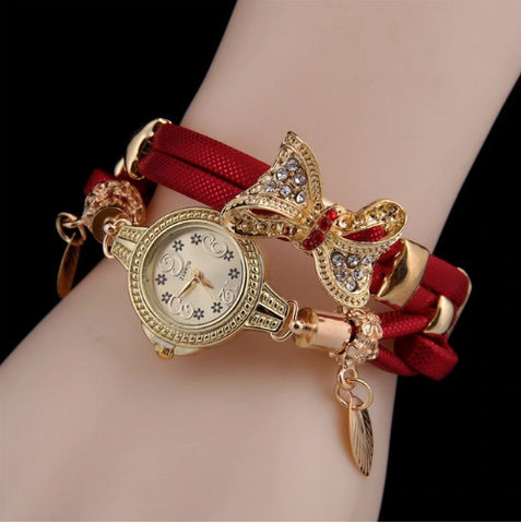 Casual Retro Multi Band and Rhinestone Charm Watch Red