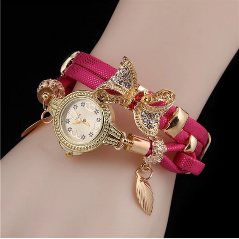Casual Retro Multi Band and Rhinestone Charm Watch Rose