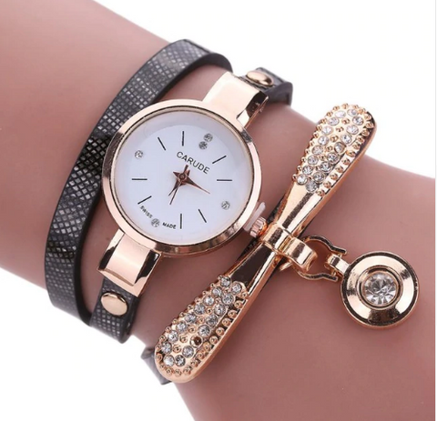 Casual Fashion Bracelet Multi Band and Rhinestone Charm Watch Black