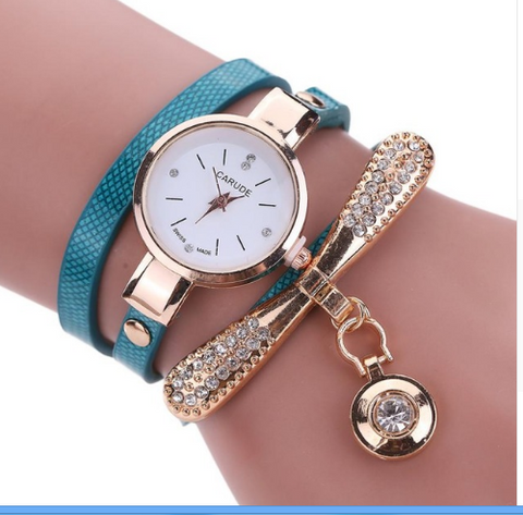 Casual Fashion Bracelet Multi Band and Rhinestone Charm Watch Blue