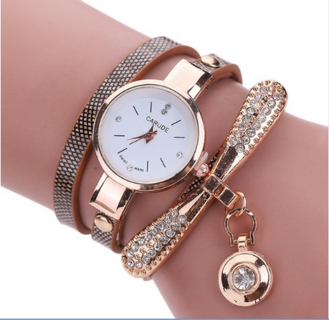 Casual Fashion Bracelet Multi Band and Rhinestone Charm Watch Brown