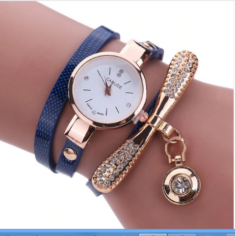 Casual Fashion Bracelet Multi Band and Rhinestone Charm Watch Dark Blue