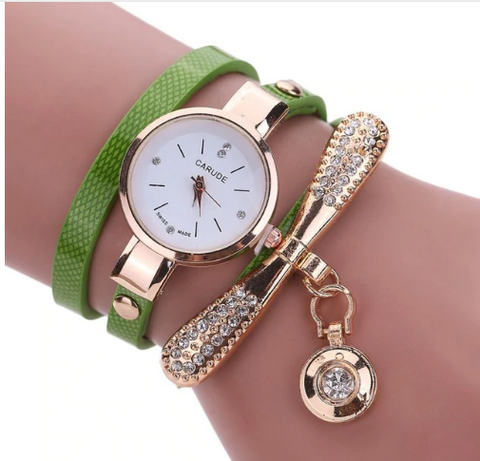 Casual Fashion Bracelet Multi Band and Rhinestone Charm Watch Green