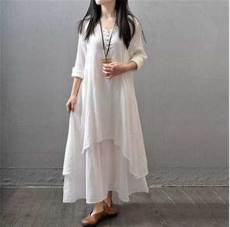 Summer Cotton Blend Layered Dress (5 Colour options)