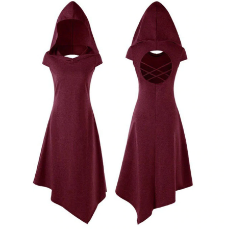 Cosplay Hooded Asymmetrical Dress (4 Colour Options)