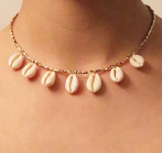 Hawaiian Cowrie Shell & Metallic Bead Necklace