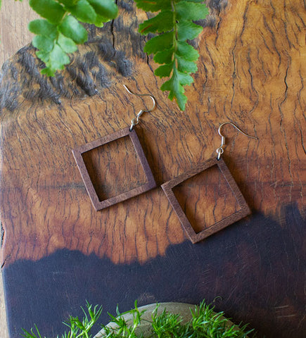 Double Square Wood Earrings