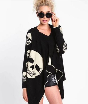 Skull Motif Long Sleeve Shawl Cardigan (4 Sizes)