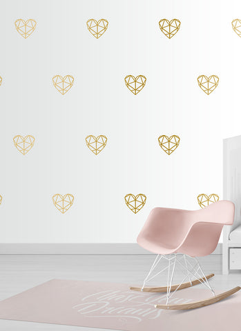 Geometric Heart Couture Wall Pattern Decals