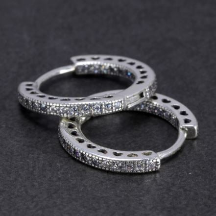 Heart and Zircon Hoop S925 Sterling Silver Earrings