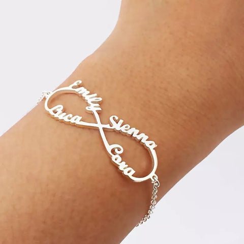 Personalised Infinity Trio or Quad Name Bracelet (4 colour choices)