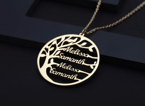 Personalised Family Tree Name Necklace (up to 4 names & 3 colour choices)