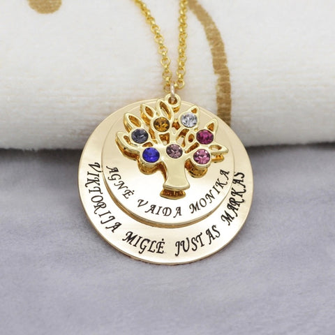 Personalised Family Tree Name Stone Necklace (up to 7 names & 2 colour choices)