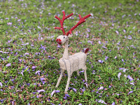 White Bead Decor Reindeer (Medium)