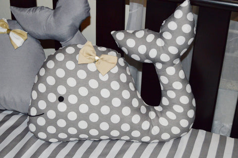 Grey & White Polka Dot Dolphin Themed Decor Cushion